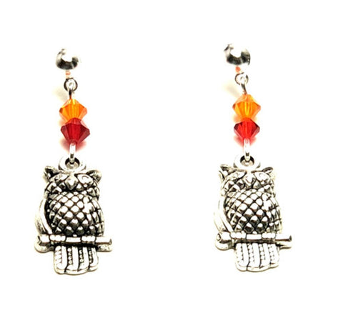 Halloween Trendy Fashion Owl Dangle Earrings for Women / AZAEHA102-SRO