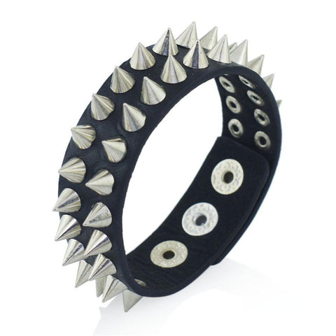 Fashion Unique Gothic Delicate Spikes Rivet Cuff Leather Unisex Bracelet / AZBRLBA07-SBL