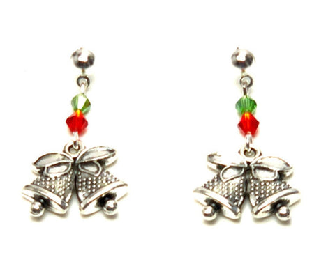 Christmas : Antique Silver Christmas Bell Dangle Post Dangle Earrings For Women / AZAEXA007-ASL