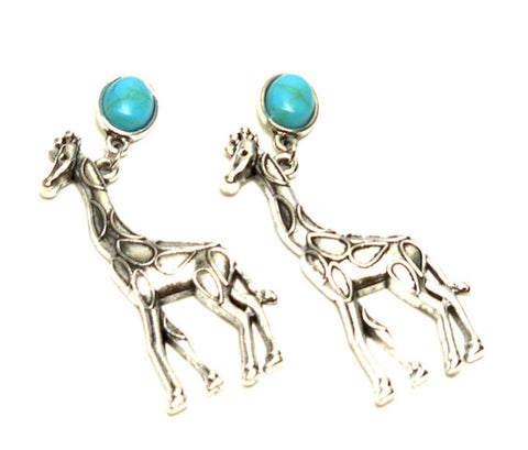 Trendy Unique Fashion Giraffe Animal Dangle Earrings For Women / AZAEAL601-AST
