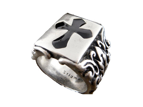 Mens stainless steel ring - Cross - Size 10