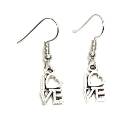 "Fashion Trendy Valentine Heart""Love"" Dangle Earrings For Women / AZAEVH106-ASL"