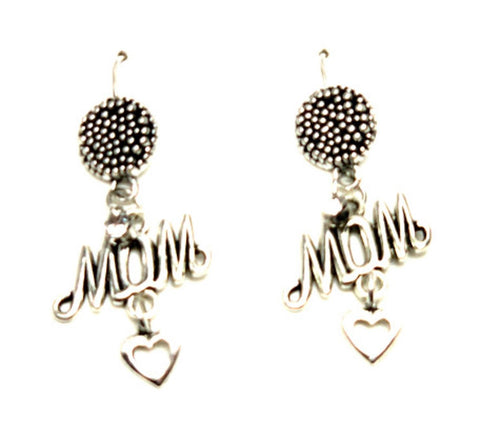"Mother's Day ""Love Mom"" Fish Hook Earrings For Women / AZAELM201-ASC"
