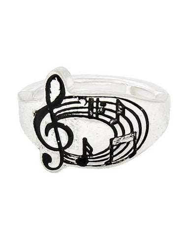 MUSIC Antique Silver Stretch Ring