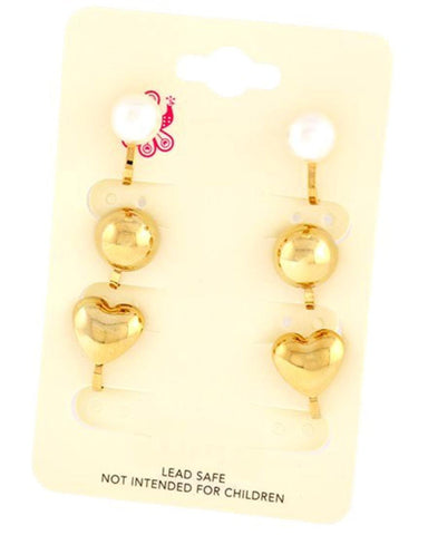 Gold Tone Cream Synthetic Pearl Clip-on 3 Pair Earring / AZERAB956-GPR