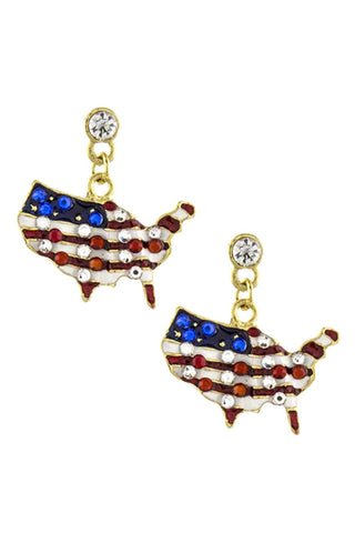 Fashion Independence Day American Flag Geo Map Dangle Earring Set For Women
