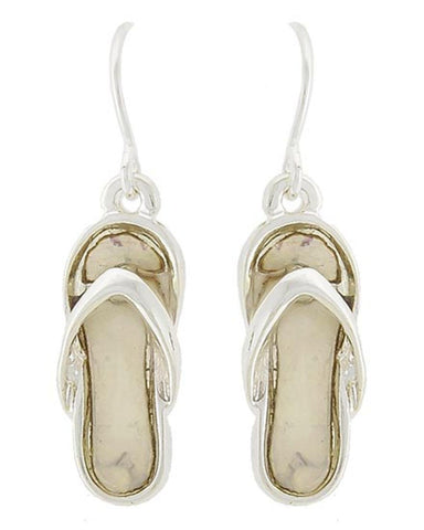 Antique Silver Tone Mother Of Pearl W/epoxy Flip Flop Dangle Earring / AZERFF111-SBE