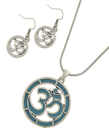Arras Creations Fashion Trendy OM Antique Silver Tone Turquoise Epoxy Pendant Earring Set for Women / AZFJFP011-STU