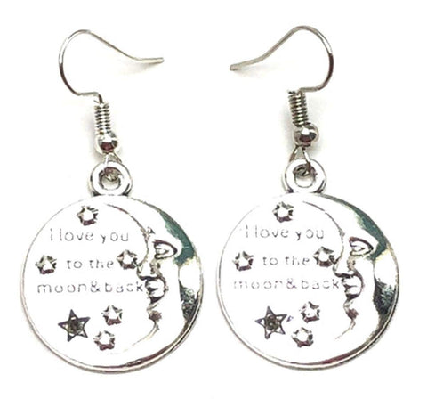 "Fashion Trendy Valentine Message""I Love You To The Moon & Back"" Earrings For Women / AZAEVH501-ASL"