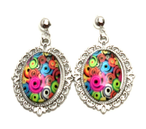 Trendy Fashion Cameo Lacework Swirl Cabochon Earrings for Women / AZEACS409-ASM