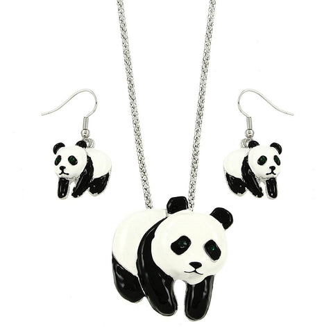 Arras Creations Fashion Trendy Animal Panda Necklace & Earring Set for Women / AZFJFP647-ASP