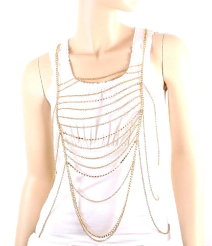 Fashion Trendy Body Chain with Rhinestone For Women / AZFJBC026-GLD