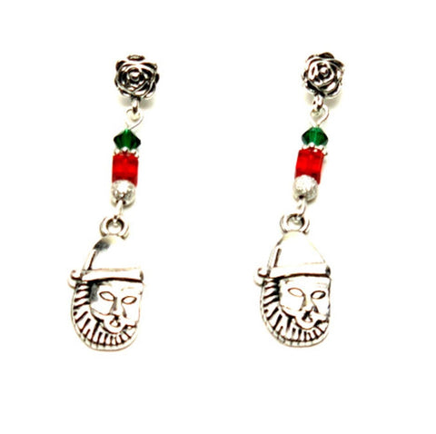 Christmas : Antique Silver Santa Dangle Post Earrings For Women / AZAEXA011-ASL