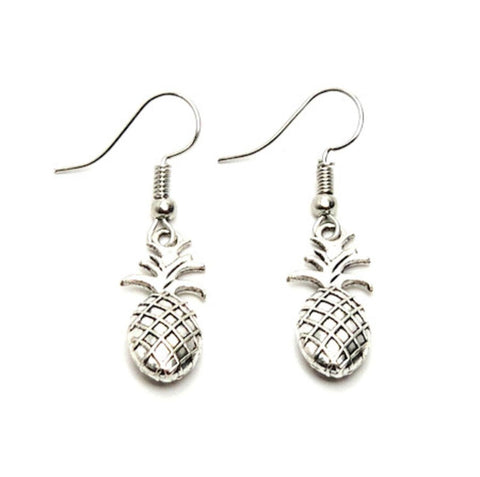Fashion Trendy Antique Silver Pineapple Dangle Fish Hook Earring / AZAEFP001-ASL