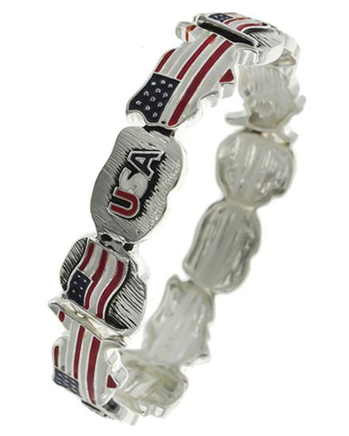 Arras Creations Independence Day American Flag & Map of USA Stretch Bracelet for Women / AZBRST635-SRB-PAT