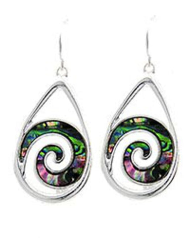 Silver Abalone TearDrop Dangle Earrings / AZERAB095-SMU