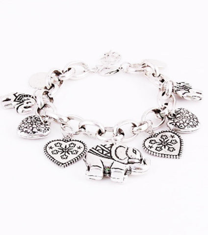 Charm Bracelet with Elephant and Hearts / AZBRCH001-ASL