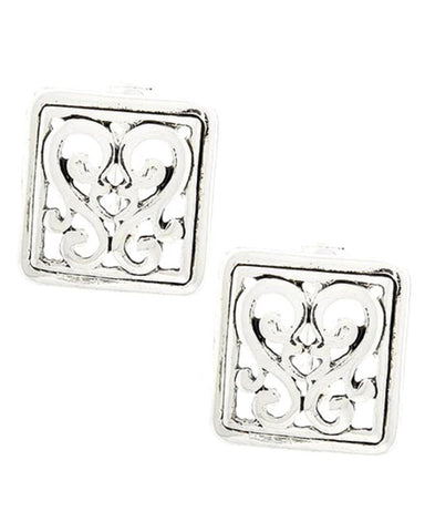 Antique Silver Tone Square Button Filigree Clip-on Earring / AZERAB233-ASL
