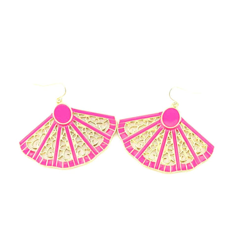 Fan Shaped Neon Color Earrings / AZERAL002-GNP