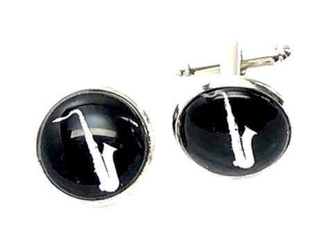 Musical Instrument Saxophone French Shirts Music Saxophone Cufflinks Cuff lings Cuff Buttons Cuff Link For Men's and Women's / AZCFMU101-SBK