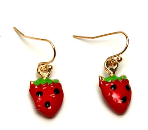 Fashion Trendy Strawberry Fruit Dangle Earrings For Women