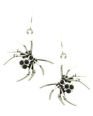 Fashion Halloween Spider Dangle Fish Hook Earrings For Women / AZERHE503-ASB