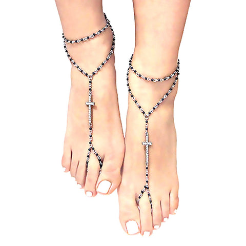 arras-creations-trendy-crystal-pave-cross-beaded-barefoot-sandals-anklets-for-women-azanbf201-blk-cro