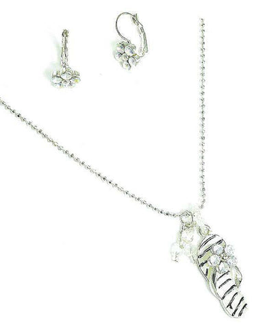 Arras Creations Fashion Designer Flip Flop Pedant Earrings Set for Women / AZFJFP025-ASB-FLP