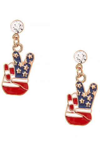 Fashion Trendy Patriotic American Flag Peace Sign Earrings For Women / AZERPT036-GRB-PAT