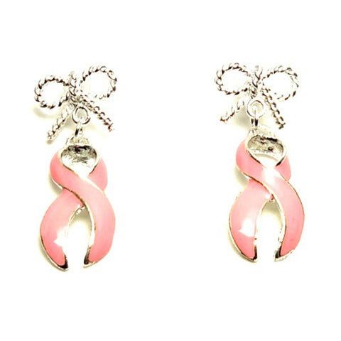 Arras Creations Breast Cancer Awareness Ribbon Dangle Post Earrings for Women / AZEABC007-SPI