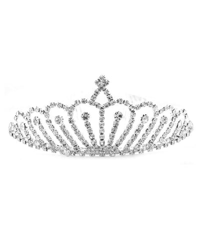 Silver Tone Rhinestone Crown Tiara Headband Wedding Party