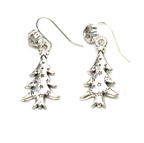 Christmas : Antique Silver Christmas Tree Dangle Fish Hook Dangle Earrings For Women / AZAEXA004-ASL