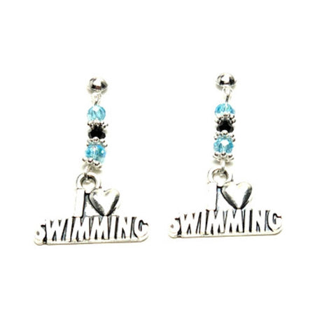 SPORTS Earring : Fashion Swim Charm Drop Earrings For Women / AZAESP302-ASB