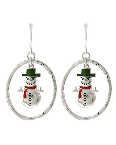 Christmas Theme - Snowman Dangle Christmas / Earring Set / AZERFH394-SMU-CHR