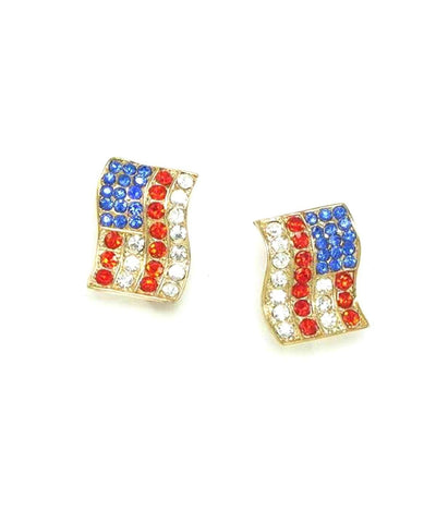 Independence Day American Flag Patriotic Clip-On Earrings For Women / AZERCO001-GRB-PAT