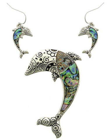 SeaLife: Multi Color Abalone Shell Dolphin Pendant & Earring Set / AZNSSEA876-SAB