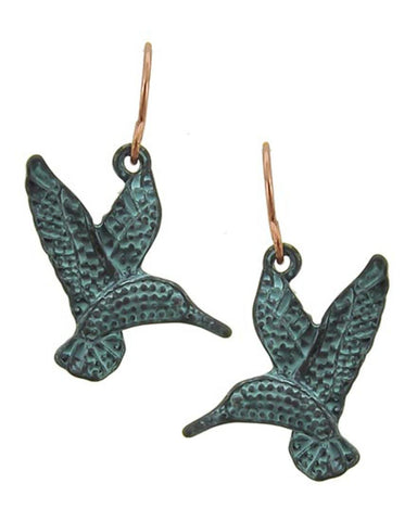 Patina Bird Dangle Metal Fish Hook Earring / AZERSEA265-PAT
