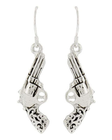 WESTERN THEME Filigree Gun Dangle Fish Hook EARRINGS / AZERSW938-ASL