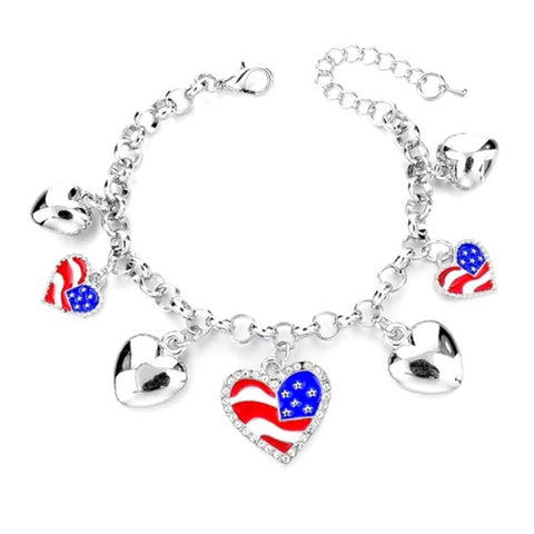 Fashion Independence Patriotic US Flag Heart Bracelet for Women / AZBRCHA01-SMU