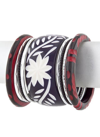 Fashion Tribal Carved Plastic Red Black Stacked Bangles Bracelet for Women