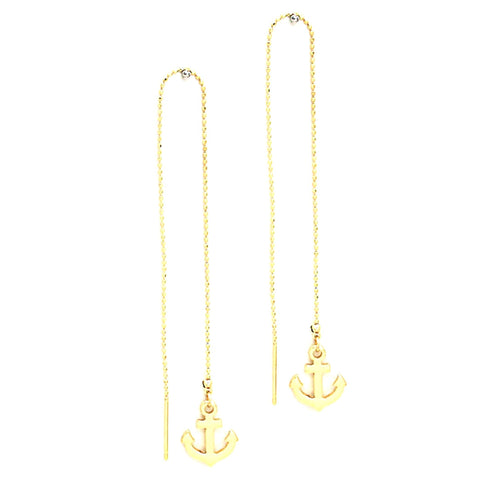 Sea Life / Anchor U-Fringe Earrings / AZERSEA014-GLD