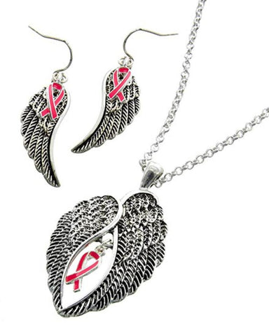 Pink Ribbon Pendant Set - Breast Cancer Awareness For Women / AZNSBCA006-ASP