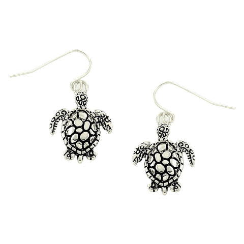 SEA LIFE Antique Silver Tone Turtle Dangle Earring / AZERSEA125-BSL