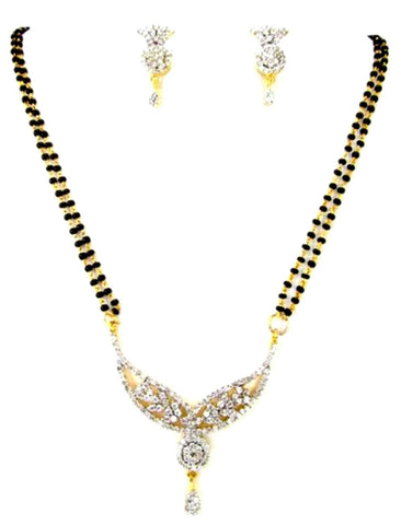 Arras Creations Designer Imitation Long Mangalsutra Necklace with CZ Pendant for Women / AZMNGC125-GCL