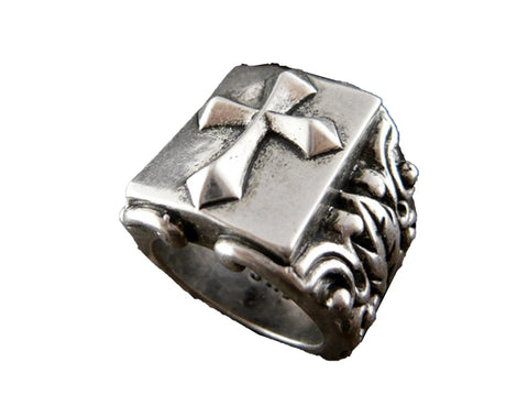 Mens stainless steel ring - Cross - Size 9