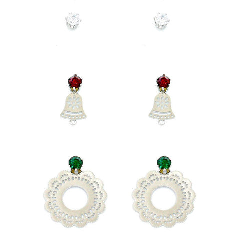 Fashion Trendy 3-Pairs Crystal CZ Christmas Bell & Wreath Earrings For Women / AZERFH194-SGR-CHR
