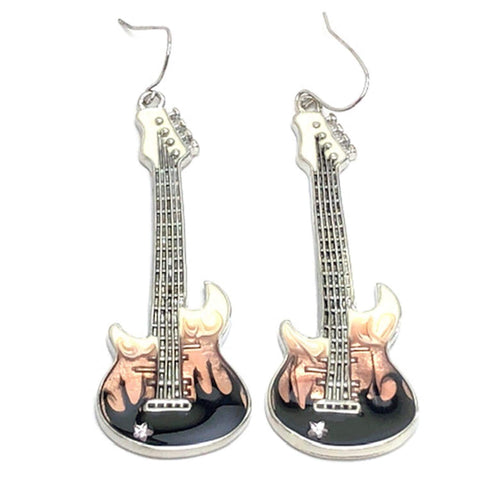 Fashion Trendy Handmade Music Instrument Dangle Electric Guitar Earrings For Women / AZAEDM051-MUL