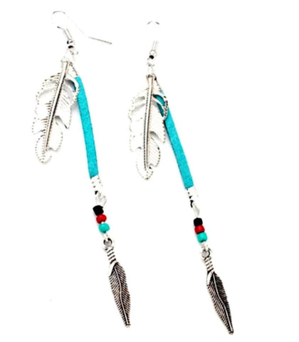 Vintage Tibetan Metal Leaves Turquoise Beads Tassel Earrings For Women / AZERAL031-ASB