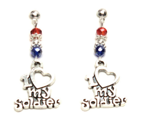 "Patriotic Independence ""I Love my Soldier"" Earrings For Women / AZAEPT001-ASL"