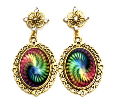 Trendy Fashion Cameo Lacework Swirl Cabochon Earrings for Women / AZEACS411-AGM